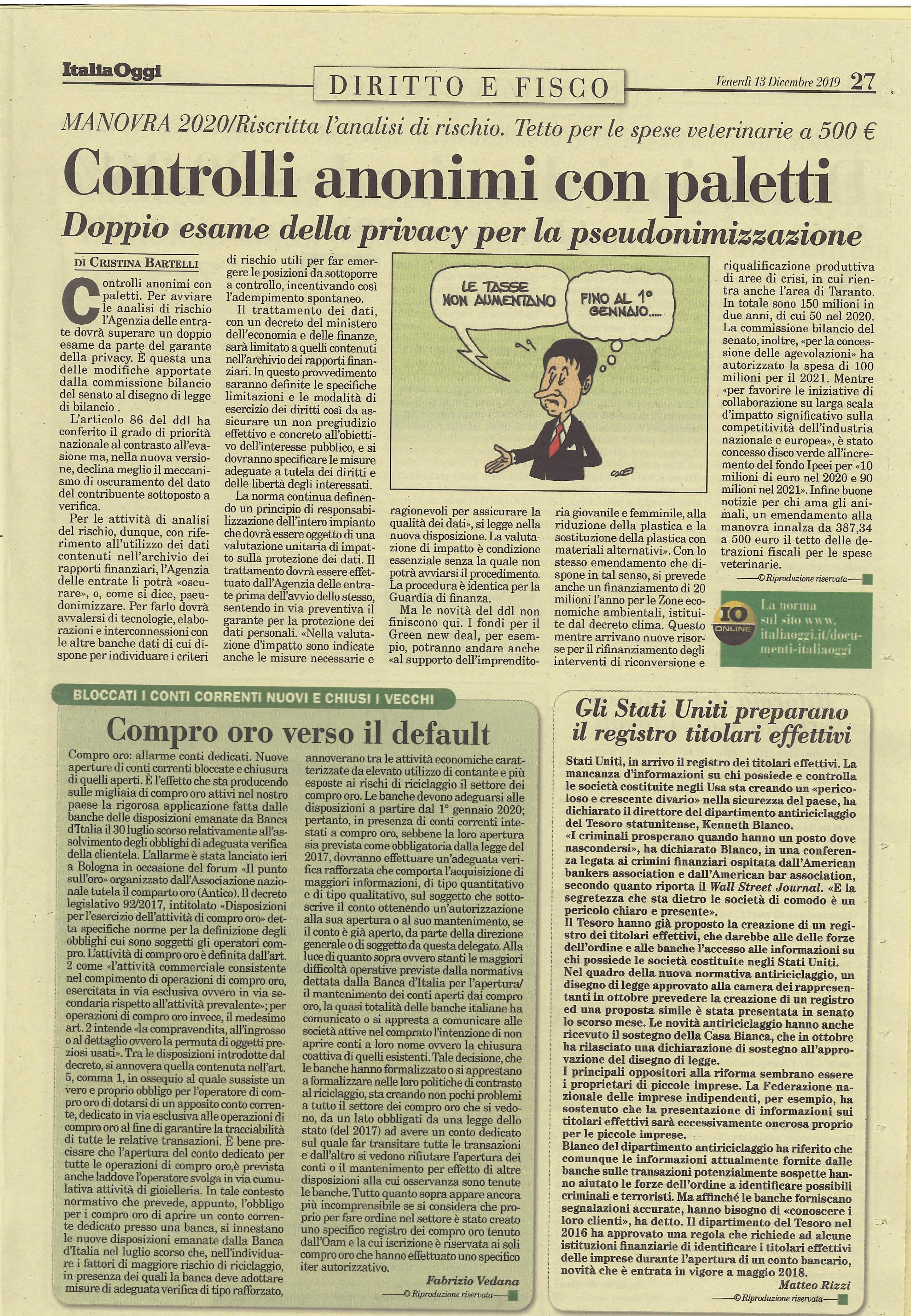 COMPRO ORO VERSO IL DEFAULT - ITALIA OGGI